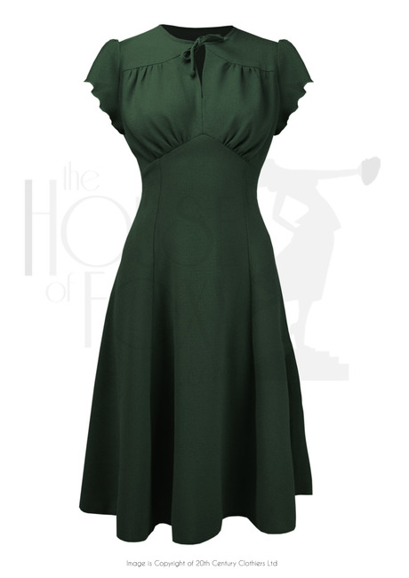 1940s Day Dress Styles, House Dresses 40s Grable Tea Dress - Bottle Green £99.00 AT vintagedancer.com