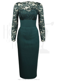 1960s Bardot Dress - Dark Emerald
