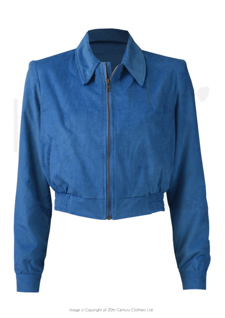 40s Americana Zip Jacket - Blue Needlecord