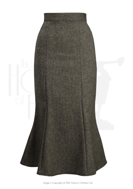 1930s Style Skirts : Midi Skirts, Tea Length, Pleated 1930s flutter skirt - tweed wool £62.00 AT vintagedancer.com