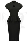 40s Lana Peplum Dress - Black Stretch Crepe