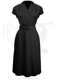 40s Gracie Wrap Dress - Black
